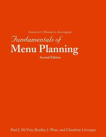 9780471407317: Fundamentals of Menu Planning: Instructor's Manual