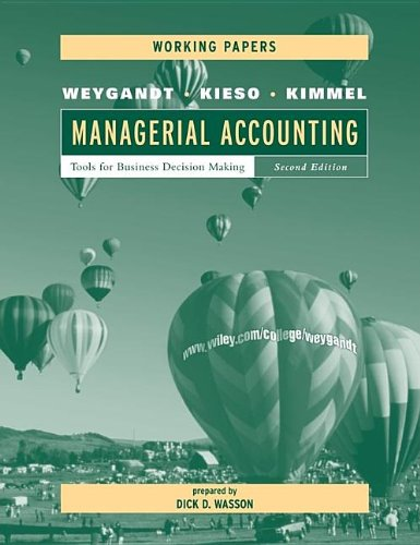 9780471416487: Managerial Accounting, Working Papers: Tools for Business Decision Making