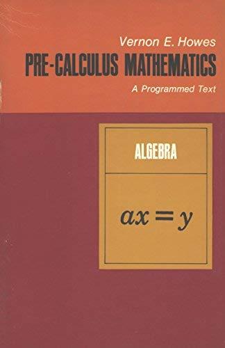 9780471417309: Precalculus Mathematics: Algebra Bk  1