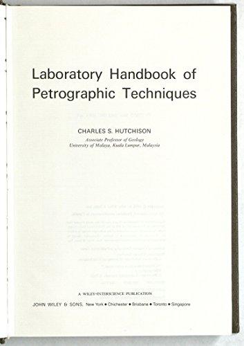 9780471425502: Laboratory Handbook of Petrographic Techniques