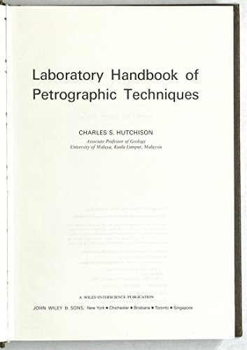9780471425502: Laboratory Handbook of Petrographic Techniques