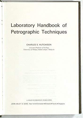 Laboratory Handbook of Petrographic Techniques: Hutchison, Charles S.