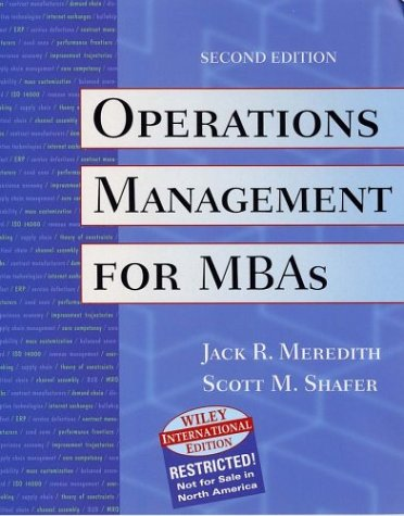 9780471427810: Operations Management For Mb As