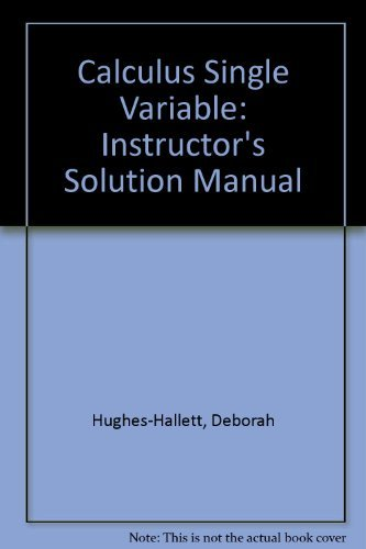 9780471441854: Calculus - Single Variable : Instructor's Solutions Manual
