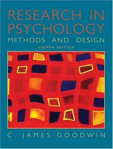 9780471450085: Research In Psychology: Methods and Design