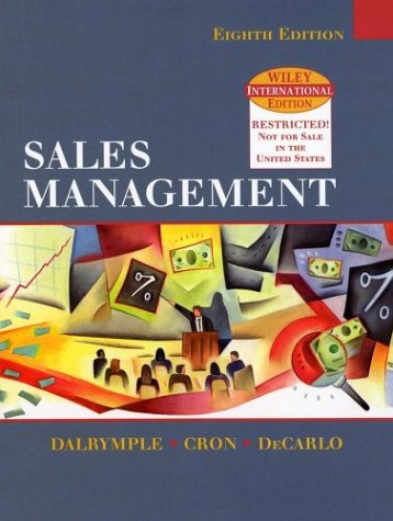 9780471451716: WIE Sales Management: Concepts and Cases