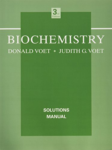 Biochemistry Solutions Manual By Voet 1995 + 1996 Supplement Second Ed. LOT P34