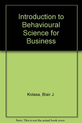 9780471499008: Introduction to Behavioural Science for Business