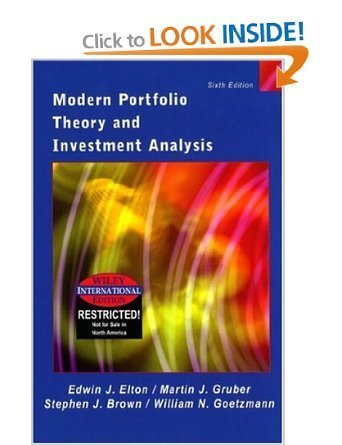 9780471532484: Modern Portfolio Theory and Investment Analysis (The Wiley series in finance)