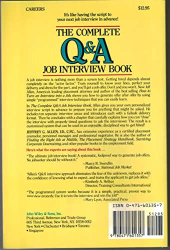 The Complete Q & A Job Interview Book: Jeffrey G. Allen