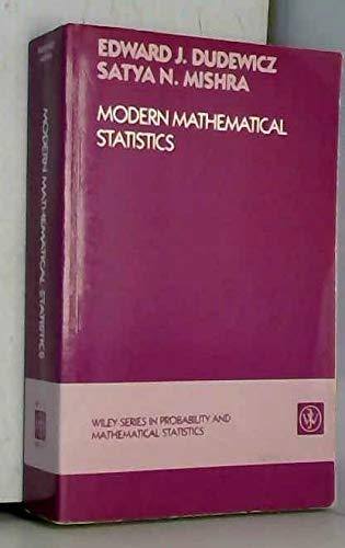 9780471607168: Modern Mathematical Statistics (Probability & Mathematical Statistics)