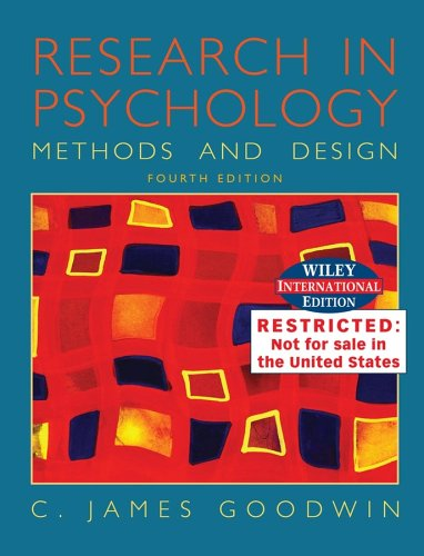9780471658207: Research in Psychology: Methods and Design