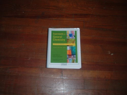 Experiments in General Chemistry Laboratory Manual: Sally Solomon