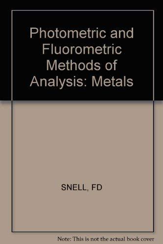 9780471810148: Photometric and Fluorometric Methods of Analysis: Metals