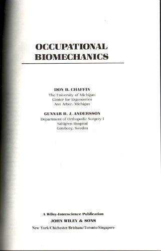 9780471876342: Occupational Biomechanics