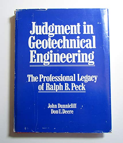 9780471897675: Judgment in Geotechnical Engineering: Professional Legacy of Ralph B. Peck