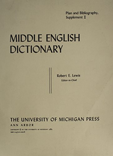 9780472010028: Middle English Dictionary (Plan and Bibliography)