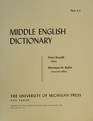 9780472010110: Middle English Dictionary: A.1