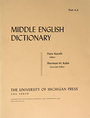9780472010141: Middle English Dictionary (Volume A.4)