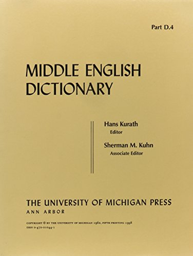 Middle English Dictionary (Volume D.4)
