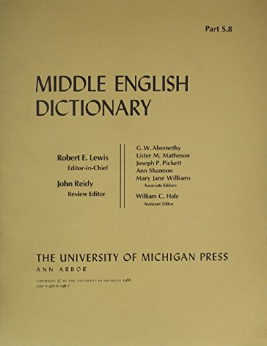 9780472011988: Middle English Dictionary (Volume S.8)