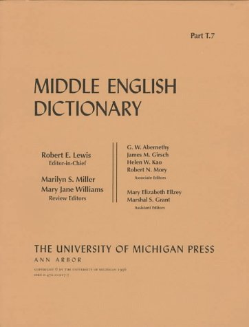 9780472012176: Middle English Dictionary: T.7