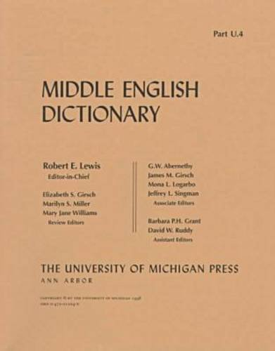 9780472012244: Middle English Dictionary (Volume U.4)