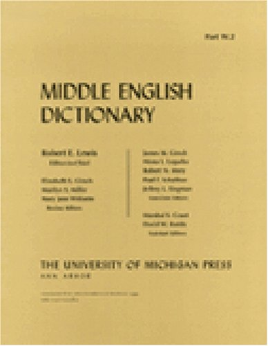 9780472012282: Middle English Dictionary (Volume W.2)