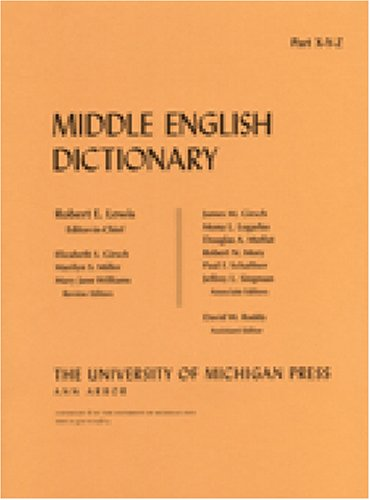 9780472012367: Middle English Dictionary: X/Y/Z