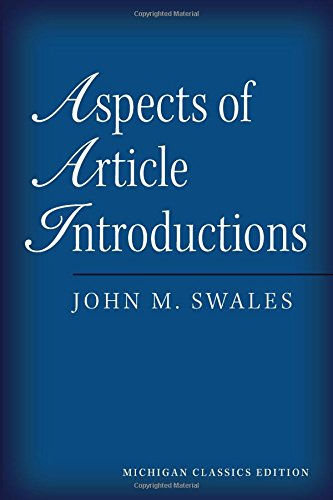 9780472034741: Aspects of Article Introductions, Michigan Classics Ed.