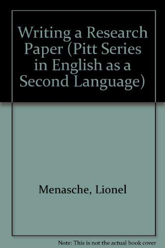 9780472081196: Writing a Research Paper (Pitt Series in English As a Second Language)