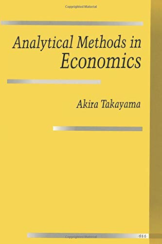 9780472081356: Analytical Methods in Economics