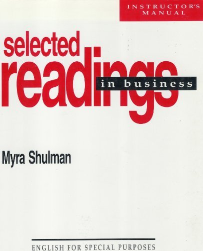 9780472081370: Selected Readings in Business (English for Special Purposes Ser/Instructors Manual)