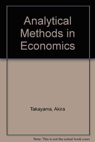 9780472101627: Analytical Methods in Economics
