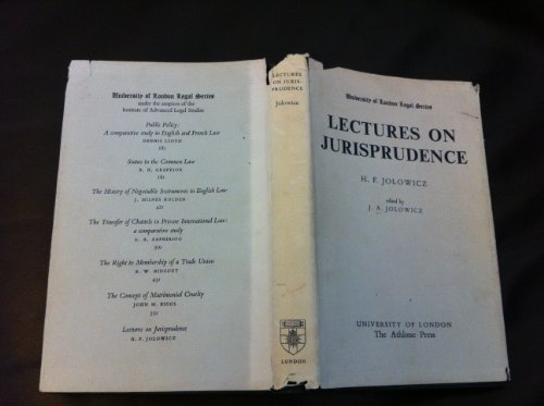 Lectures on Jurisprudence (University London Legal): Jolowicz, H.F.