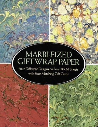 9780486258768: Marbleized Giftwrap Paper: Four Different Designs on Four 18