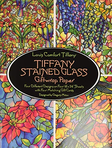 9780486266343: Tiffany Stained Glass Giftwrap Paper: Four Different Designs on Four 18