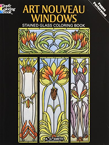 9780486277103: Art Nouveau Windows Stained Glass Coloring Book (Dover Design Stained Glass Coloring Book)