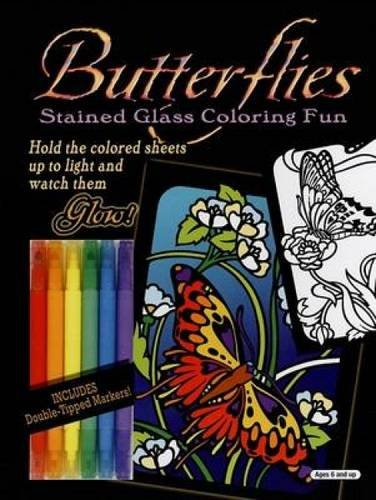 9780486463643: Butterflies Stained Glass Coloring Fun