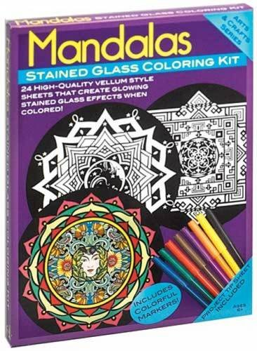 9780486466477: Mandalas Stained Glass Coloring Kit