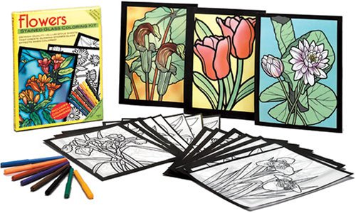 9780486466491: Flowers Stained Glass Coloring Kit (Arts & Crafts)
