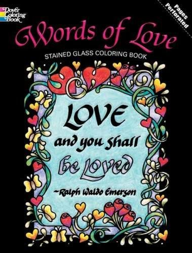 9780486477077: Words of Love Stained Glass Coloring Book (Dover Design Stained Glass Coloring Book)