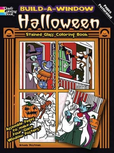 9780486483917: Build a Window Stained Glass Coloring Book Halloween (Build Window Stained Glass Coloring Book)