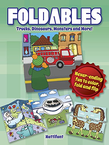 9780486804521: Foldables -- Trucks, Dinosaurs, Monsters and More!: Never-Ending Fun to Color, Fold and Flip