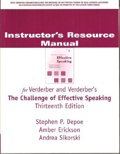 IRM Chall Eff Speaking 13e (0495000094) by VERDERBER; VERDERBER