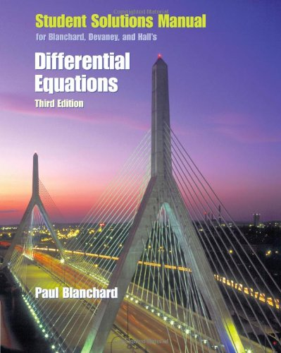 9780495014614: Student Solutions Manual for Blanchard/Devaney/Hall's Differential Equations, 3rd