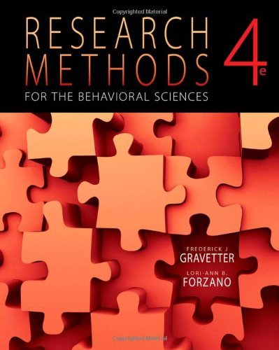9780495039372: Research Methods for the Behavioral Sciences