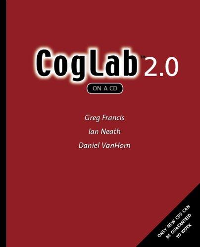 9780495090649: CogLab on a CD, Version 2.0