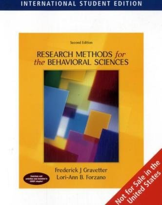 9780495091455: Research Methods for the Behavioral Sciences