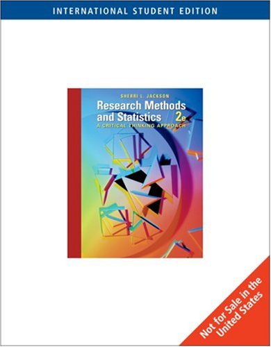 9780495091820: Research Methods and Statistics: A Critical Thinking Approach